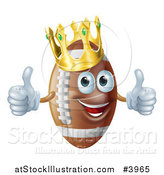 Vector Illustration of a Happy Crowned Football Mascot Holding Two Thumbs up by AtStockIllustration