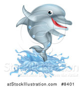 Vector Illustration of a Happy Cute Dolphin Splashing and Jumping by AtStockIllustration
