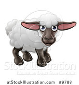 Vector Illustration of a Happy Cute Sheep by AtStockIllustration