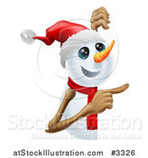 Vector Illustration of a Happy Cute Snowman Pointing to a Sign by AtStockIllustration