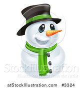 Vector Illustration of a Happy Cute Snowman Wearing a Hat and Scarf by AtStockIllustration