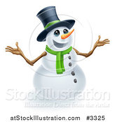 Vector Illustration of a Happy Cute Snowman Wearing a Top Hat and Scarf by AtStockIllustration