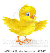 Vector Illustration of a Happy Cute Yellow Easter Chick Flapping Its Wings by AtStockIllustration