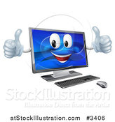 Vector Illustration of a Happy Desktop Computer Mascot Holding Two Thumbs up by AtStockIllustration