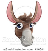 Vector Illustration of a Happy Donkey Face Avatar by AtStockIllustration