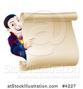 Vector Illustration of a Happy Dracula Halloween Vampire Pointing at a Sign Scroll by AtStockIllustration