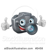 Vector Illustration of a Happy DSLR Camera Mascot Holding Two Thumbs up by AtStockIllustration