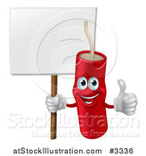 Vector Illustration of a Happy Dynamite Mascot Holding a Sign and a Thumb up by AtStockIllustration