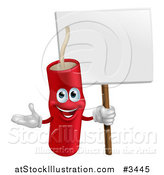 Vector Illustration of a Happy Dynamite Mascot Holding a Sign by AtStockIllustration