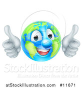 Vector Illustration of a Happy Earth Globe Mascot Giving Two Thumbs up by AtStockIllustration