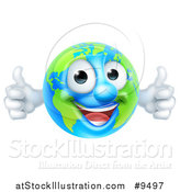 Vector Illustration of a Happy Earth Mascot Giving Two Thumbs up by AtStockIllustration