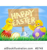 Vector Illustration of a Happy Easter Sign with Chicks and Easter Eggs Against Blue Sky by AtStockIllustration