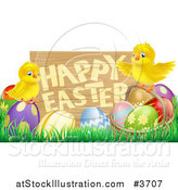Vector Illustration of a Happy Easter Sign with Chicks and Easter Eggs by AtStockIllustration