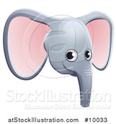 Vector Illustration of a Happy Elephant Face Avatar by AtStockIllustration
