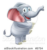 Vector Illustration of a Happy Elephant Standing and Pointing by AtStockIllustration
