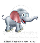 Vector Illustration of a Happy Elephant with a Smile by AtStockIllustration