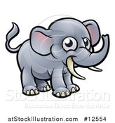 Vector Illustration of a Happy Elephant with Tusks by AtStockIllustration