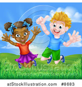 Vector Illustration of a Happy Energetic White Boy and Black Girl Jumping Outside on a Sunny Day by AtStockIllustration