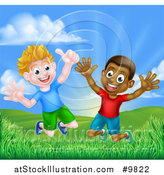 Vector Illustration of a Happy Excited White and Black Boys Jumping Outdoors by AtStockIllustration