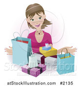 Vector Illustration of a Happy Female Shopper with Bags and Boxes by AtStockIllustration