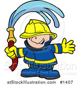 Vector Illustration of a Happy Fireman in a Blue and Yellow Uniform and Hardhat, Waving a Water Hose by AtStockIllustration