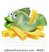 Vector Illustration of a Happy Fish with Chips French Fries by AtStockIllustration