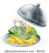 Vector Illustration of a Happy Fish with Chips French Fries on a Platter by AtStockIllustration