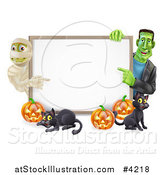 Vector Illustration of a Happy Frankenstein Mummy Pumpkins and Black Cat Around a Blank Sign by AtStockIllustration