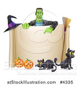 Vector Illustration of a Happy Frankenstein Pointing down at a Scroll Sign with a Witch Hat Cats a Broomstick and Halloween Pumpkins by AtStockIllustration
