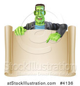 Vector Illustration of a Happy Frankenstein Pointing down to a Blank Scroll Sign or Invitation by AtStockIllustration