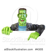 Vector Illustration of a Happy Frankenstein Pointing down to a Sign by AtStockIllustration