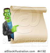 Vector Illustration of a Happy Frankenstein Pointing to a Blank Scroll Sign or Invitation by AtStockIllustration