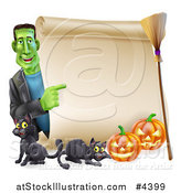 Vector Illustration of a Happy Frankenstein Pointing to a Scroll Sign with a Broomstick Black Cats and Halloween Pumpkins by AtStockIllustration