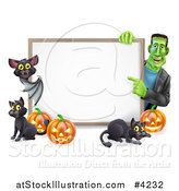 Vector Illustration of a Happy Frankenstein with a Vampire Bat Cats and Halloween Pumpkins Around a White Sign by AtStockIllustration