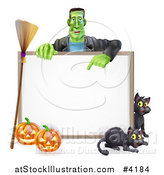 Vector Illustration of a Happy Frankenstein with Cats a Broomstick and Halloween Pumpkins Around a White Sign by AtStockIllustration