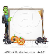 Vector Illustration of a Happy Frankenstein with Cats a Broomstick and Halloween Pumpkins Pointing to a White Board Sign by AtStockIllustration