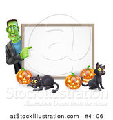 Vector Illustration of a Happy Frankenstein with Cats and Halloween Pumpkins Around a White Sign by AtStockIllustration