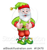 Vector Illustration of a Happy Garden Gnome or Christmas Elf Giving Two Thumbs up by AtStockIllustration
