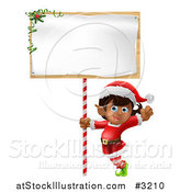 Vector Illustration of a Happy Girl Christmas Elf Waving Under a Christmas Sign by AtStockIllustration