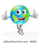 Vector Illustration of a Happy Globe Mascot Holding Two Thumbs up by AtStockIllustration