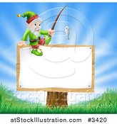 Vector Illustration of a Happy Gnome with a Fishing Pole on a Sign by AtStockIllustration
