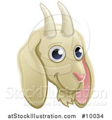 Vector Illustration of a Happy Goat Face Avatar by AtStockIllustration