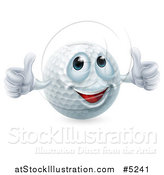 Vector Illustration of a Happy Golf Ball Mascot Giving Two Thumbs up by AtStockIllustration