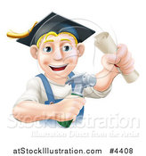 Vector Illustration of a Happy Graduate Worker Man Holding a Hammer and Degree and Wearing a Mortar Board by AtStockIllustration