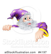 Vector Illustration of a Happy Gray Bearded Wizard Pointing down at a Sign by AtStockIllustration