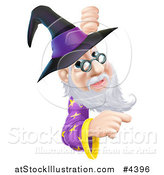 Vector Illustration of a Happy Gray Bearded Wizard Wearing Glasses and a Witch Style Hat, Pointing and Looking Around a Sign by AtStockIllustration