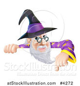 Vector Illustration of a Happy Gray Bearded Wizard with Glasses, Pointing down at a Sign by AtStockIllustration