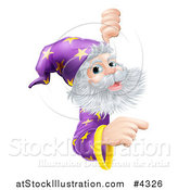 Vector Illustration of a Happy Gray Bearded Wizard with Pointing and Looking Around a Sign by AtStockIllustration
