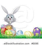 Vector Illustration of a Happy Gray Easter Bunny with a Basket and Eggs in Grass by AtStockIllustration