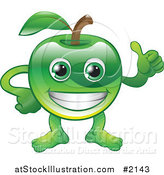 Vector Illustration of a Happy Green Apple Character Holding a Thumb up by AtStockIllustration